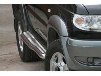 Пороги УАЗ Патриот с алюминиевой площадкой (с перегибом) краш.